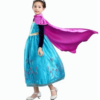 Cool Girls Princess Elsa Anna Costumes Dress With Red Cloak for Princess Party Cosplay Christmas Outfit Flower Dresses 2-10 YearsAT_93_12