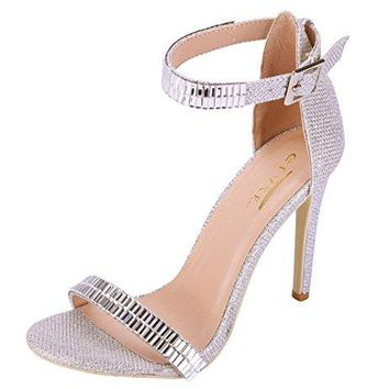 Glaze Womens Stiletto Jewel Plated High Heel Ankle Strap Dress Sandals  Open Toe Strappy Heels