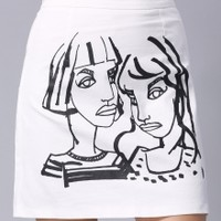 Figure Print Mini Skirt