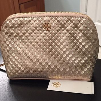 "🆕Tory Burch ""Marion"" Metallic Cosmetic Case. NWT"