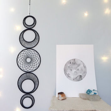 Large Moon Phase Wall Hanging, MoonPhase Wall Art, Moon Phase Dreamcatcher, Black Bohemian Dream Catcher, Modern Gypsy Decor, Boho Decor