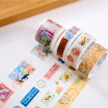 4 pcs/set Vintage Stamp washi tape DIY decorative scrapbook masking tape office adhesive tape stationery school supplies