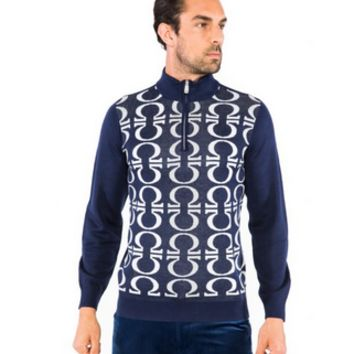 Prestige Omega Navy Half Zip Sweater