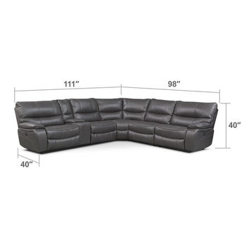 Orlando 6-Piece Power Reclining Sectional w/ 2 Stationary Chairs - Gray