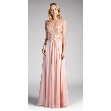 Cinderella Divine 2635 - Jewel Embellished Sheer Back Chiffon Prom Dress Peach