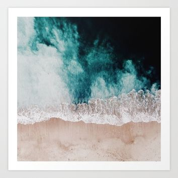Ocean (Drone Photography) Art Print by Lostfog Co↟