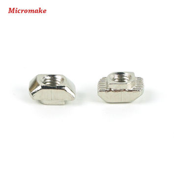 Micromake 3D Printer Parts 50pcs/lot M3/M4 Carbon Steel T type Nuts Fastener Aluminum Connector For 2020 Industrial Profile