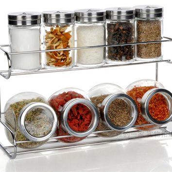 Kitchen Glass Storage Spice Jar Bottle Seasoning Storage Cans With Holder Rack Kitchen Storage Container