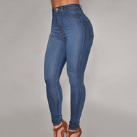 Fashion Women Blue Slim High Waisted Jeans Package Hip Jeans Denims Trousers Pants _ 11085