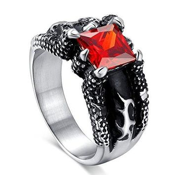 BodyJ4You Dragon Claw Ruby Red Square Gem Cast Ring Stainless Steel - Size 9