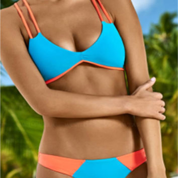 Sexy Women Patchwork Color Bikini Sets Push-up Padded Bra Enthusiastic Hot Swimsuit Swimwear Triangle Bathing Suit