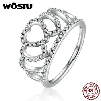 WOSTU 2017 New 100% 925 Sterling Silver Hearts Tiara Crown Wedding Rings For Women Luxury Original Fine Jewelry Gift XCH7194