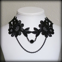 Black floral lace necklace with chains and glass beads by Arthlin