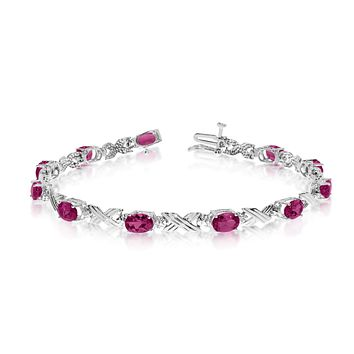 10K White Gold Oval Ruby Stones And Diamonds Tennis Bracelet, 7""