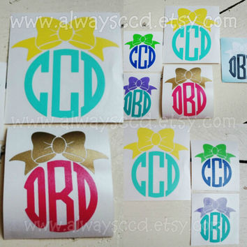 Bow topped Monogram vinyl Decal great for cars, cellphones, waterbottles