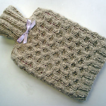 Hot Water Bottle, Beige Alpaca Hot Water Bottle Cozy, Artisan Hot Water Bottle Cover including HWB, Handspun Handknit Fawn Alpaca HWB Cover