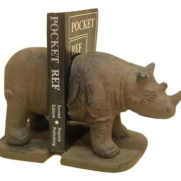 Rhino Bookends Solid Cast Iron Heavy Vintage Look