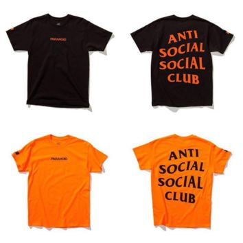 Anti social social club Fashion Print Monogram loose tee tops