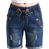 PHOENISING Women's Drawstring Roll-Over Style Jean Shorts Distressed Short Pants