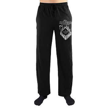 Harry Potter Messrs Moony Wormtail Padfoot And Prongs Marauders Map Print Men's Loungewear Lounge Pants