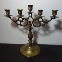 Vintage Brass Candelabra with 5 Candle Holders and Ornate Scroll Design