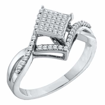 10kt White Gold Women's Round Diamond Square Cluster Bridal Wedding Engagement Ring 1-4 Cttw - FREE Shipping (USA/CAN)