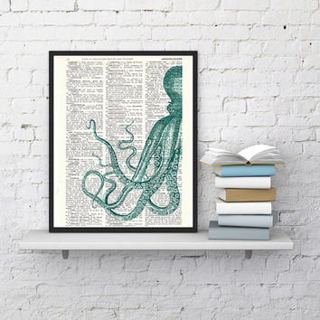 Curious turquoise Octopus, Giclee print, wall art, house decor, Wall hanging, poster Print, gift him,  Dictionary page, Octopus art print.