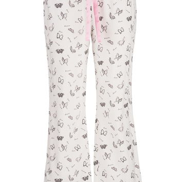 Plus Size - Butterfly Print Flannel Pants - White