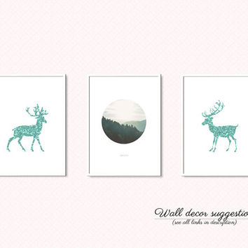 Deer silhouette printable poster, Christmas deer print, Deer art, Mint deer decor, Geometric animal print, Mint green decor, Mint wall art