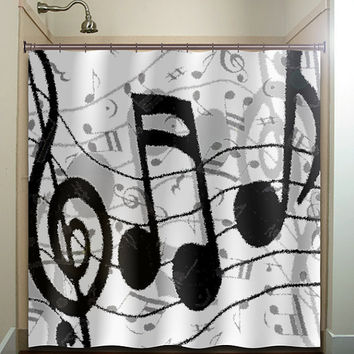 treble clef sheet music notes shower curtain bathroom decor fabric kids bath white black custom color curtains