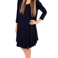 V Neck Tshirt Dress, Night Blue