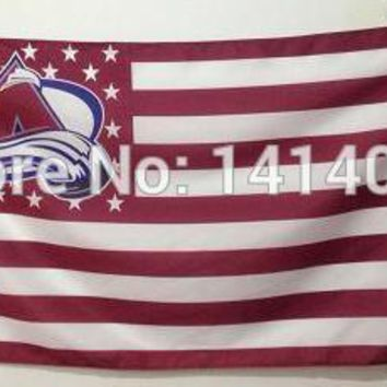 Colorado Avalanche with Stripes And Stars Flag 150X90CM  NHL 3X5 FT Banner 100D Polyester flag brass grommets 001, free shipping