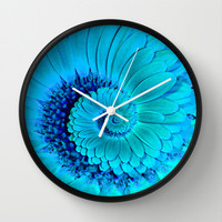 Light Blue Gerbera Spiral Wall Clock by Karl Wilson Photography