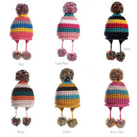Bright Color Pom Pom Knitted Hat