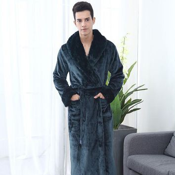 New men Long Robe Couples Robes Autumn Winter Sleepwear Thickening Coral Fleece Flannel Bathrobes Sexy Nightgowns