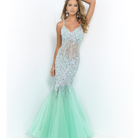 Mint Green Halter Jeweled Illusion Midriff Sexy Low Back Gown