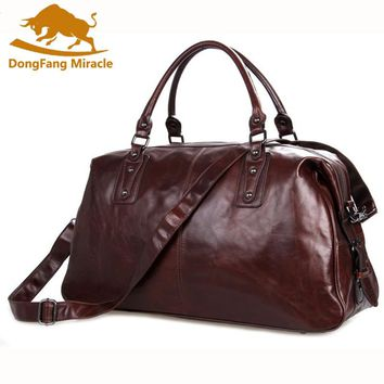 "DongFang Miracle Cow Leather Travel Bag For Men 20"" Hand Luggage Overnight Weekender Duffle Large Brown maletin de viaje"