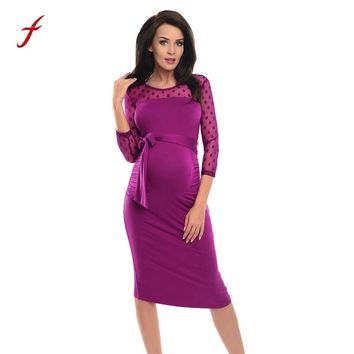 Maternity Ruched Dress With Bow 3/4 Sleeve Office Formal