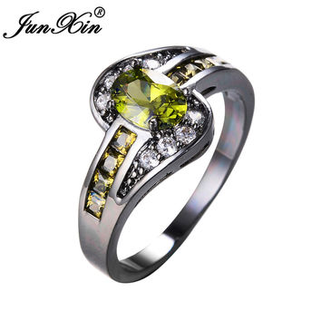 JUNXIN Female Peridot Oval Ring Fashion White & Black Gold Filled Jewelry Vintage Wedding Rings For Women Birthday Stone Gifts