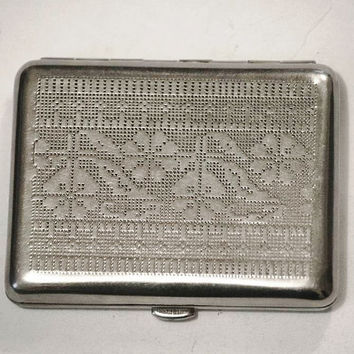 Russian Cigarette Case / Business Card Holder / Metal Wallet - Embroidery Pattern / Embroidered Ornament - from Russia / Soviet Union / USSR