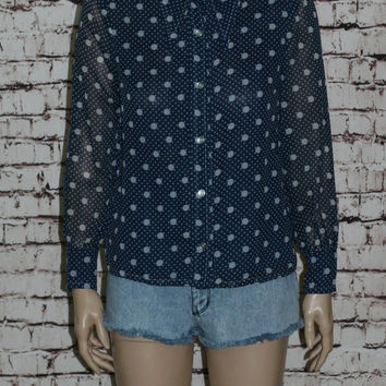 60s Blouse Oversize Collar Abstract Polka Dot Print Button Up Shirt Boho Mod Rockabilly Tunic Navy Blue White Pin Up 50s 70s