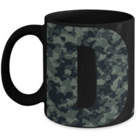 DAD Green Camouflage Typography ~ Black Ceramic Mug ~ Father's Day Birthday Gift Men