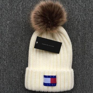 Tommy Hilfiger 2018 new thick knit cap and qiu dong warm wool hat White