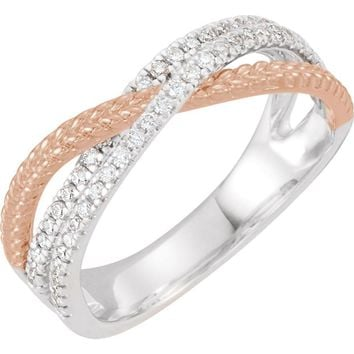 14K White & Rose 1/3 CTW Diamond Criss Cross Ring