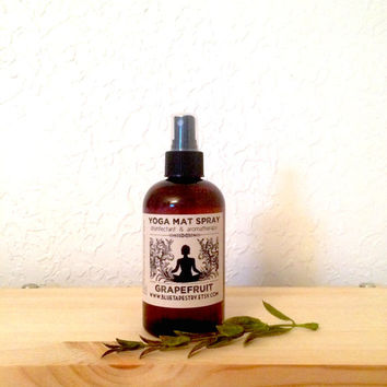 Yoga Mat Spray: Grapefruit | 8 oz disinfectant and aromatherapy, essential oil cleaner, gift ideas, yogi accessories
