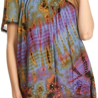 Sakkas Soraya Tie-Dye Scoop Neck Short Sleeve Embroidered Tunic Relaxed Fit Top