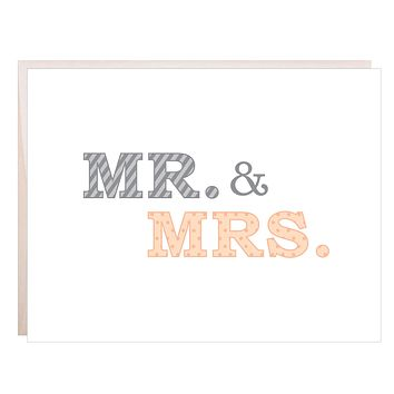 Modern Mr. and Mrs. Wedding or anniversary Card