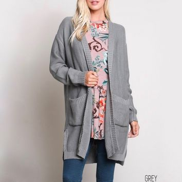 santa cruz open-front knit cardigan - grey