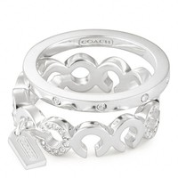 Coach :: Sterling Pave Op Art Stacking Ring