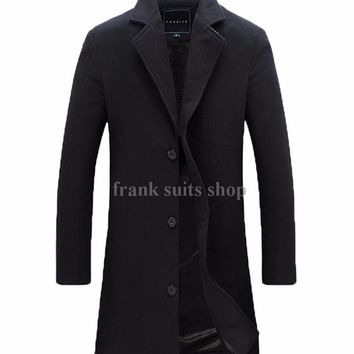 Custom made Men's Wool Jackets Spring Autumn winter Brand Men Woolen Coats Middle Long Jackets And Coats Mens Warm coat